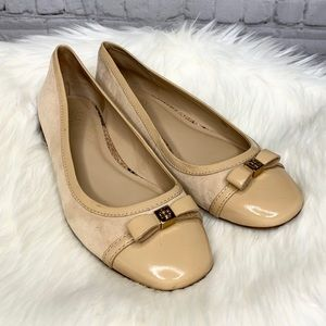Tory Burch Patent Leather Suede Bow Ballet Flats